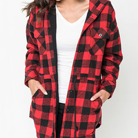 Caralase Red & Black Buffalo Check Hooded Jacket | zulily