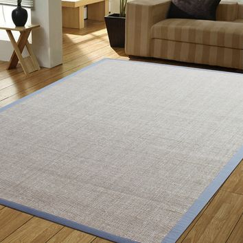 Tiger Eye Beige/Sky Blue Border Indoor Area Rug