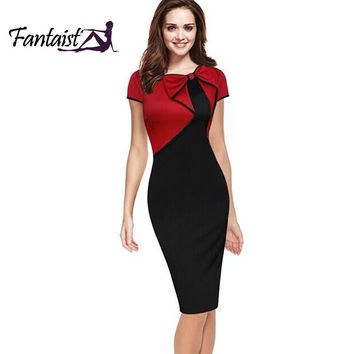 Fantaist Women Vintage Summer Chic Bow Patchwork Elegant Rockabilly Party Casual Office Wear Fitted Sheath Bodycon Pencil Dress