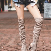 Peep Toe Suede Tall Boots