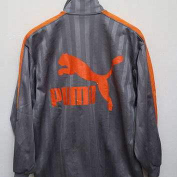 Vintage PUMA Zipper Jacket Silver Color Size S-M