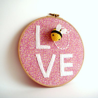Bee Love Wall Decor Summer  Hoop Art by sabahnur on Etsy