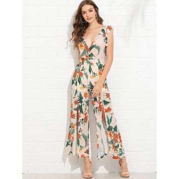 Apricot Split Wide Leg Tropical Wrap Jumpsuit