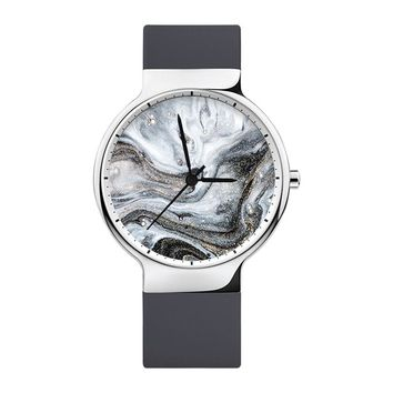Gray Marble Watch, Mens Watch, Women Watches, Minimalist, Jewelry, Modern, Gift, Simple, White Silicone Strap