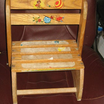 Vintage Wooden Folding Child's oak folding chair step stool by Nu-Line USA Primitive