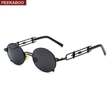 Peekaboo retro steampunk sunglasses men round vintage summer metal frame black oval sun glasses for women red male gift