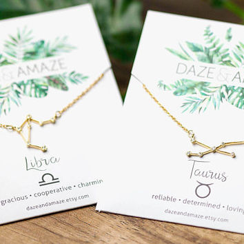 Zodiac Constellation pendant necklace | Dainty chain necklace | Gold layering celestial star necklace | Gifts for her under 30 | Zodiac star