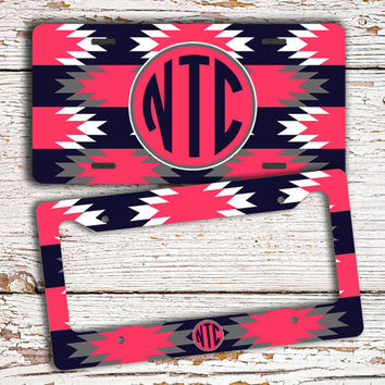Monogrammed license plate or frame - Tribal pattern dark navy blue and hot pink - aztec car tag monogram tribal bike license plate (1289)