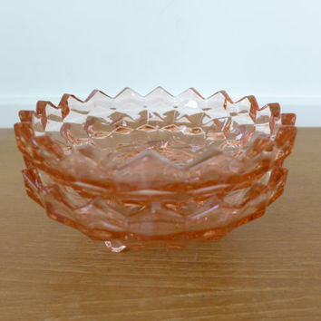 Two pink Whitehall or cube pattern glass bon bon dishes