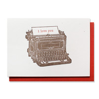 i love you typewriter card