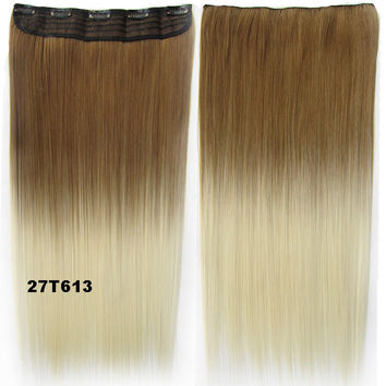 "Dip dye hairpieces New Fashion 24"" Women Clip in on gradient wig Bath & Beauty Hair Ombre Hair Extensions Two Tone Straight hair Gradient Hair Extension Colorful Hairpieces GS-666 27T613,1PCS"