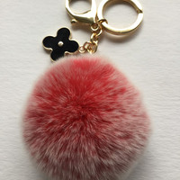 Red fur pom pom keychain frosted REX Rabbit fur pom pom ball with flower charm