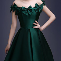 Dark Green Bowknot Off Shoulder Lace Up Back Homecoming Dress