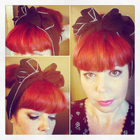 Black Vintage Style Chiffon Hair Scarf Headwrap Hair Bow 1940s 1950s Rockabilly - Pin Up - For Women, Teens
