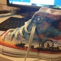Customized Sunset Silhouette Converse High-Tops