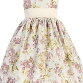 Lavender Floral Print Cotton & Lace Girls Special Occasion Dress 6M-7
