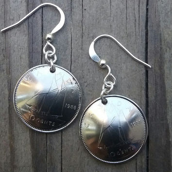 Canadian  coin earrings.  10 cents coin. Silver coin earrings. Ship earrings. Coin jewelry.1988. 27th birthday 27th anniversary.