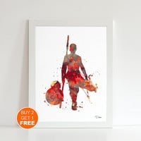 Rey BB-8 droid Star Wars print, watercolor illustration, Rey jedi, geek art print, Star Wars scavenger art  print, Light side