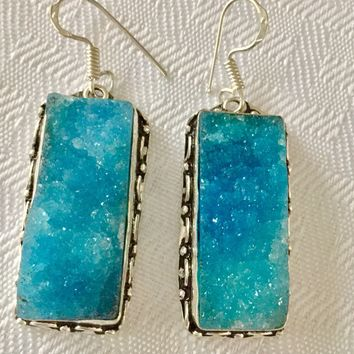 Icy Blue Druzy sterling silver earrings
