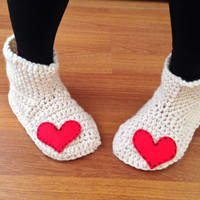 Heart Slippers Crochet Slipper Boots Women House Socks Crochet Slippers with Heart Valentines Day Gift Wool Slippers Socks Indoor Shoes