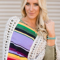 Knitted Sarape Poncho Shawl in Ivory