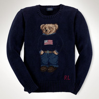 COTTON FLAG POLO BEAR SWEATER