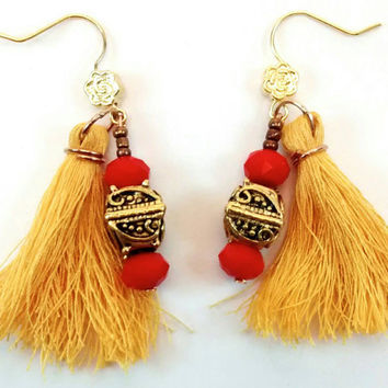 Yellow and gold tassel earrings , antique gold earrings , yellow and red earrings , boho tassel earrings, dangle bead earrings , boho tassel