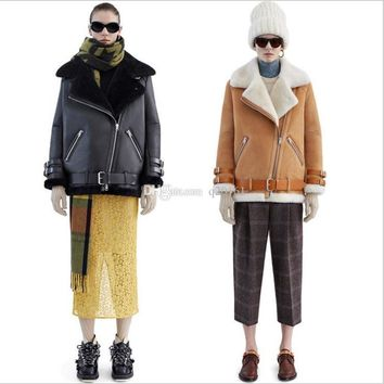 autumn and winter hot style of high quality leather AC * NE profile lambs wool Wool fur locomotive coat jacket Bomber jackets