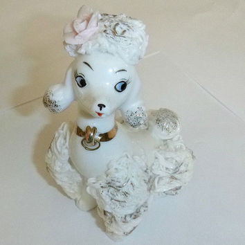 Vintage Spaghetti Poodle Figurine, 50s Rockabilly, Shabby Chic, Porcelain, Japan, Dog, Collectible, Ceramic, French, Dog, Statue, Home Decor
