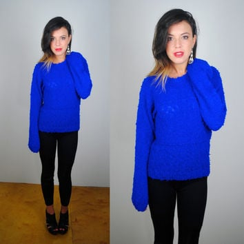 Vintage 1990s soft fuzzy bright blue oversize grunge hipster preppy long sleeve sweater