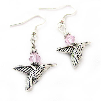 Hummingbird Earrings with Pink Crystals