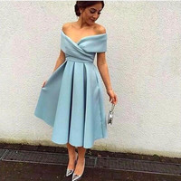 Cheap Modest 2016 A Line Cocktail Dresses Off the Shoulder Satin Ruffles Formal evening Party gowns Arabic Vestidos De Festa