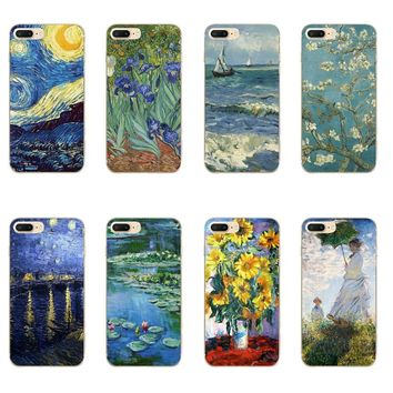 "For Apple iPhone 7 / 7 Plus Phone Case 5 SE Shell 4.7"" 6 6S 5.5 Inch Transparent Cover Soft Silicon Van Gogh Pattern Skin"