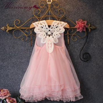 Summer Children Dress Girl Flower Princess vestidos Kids Party Beading Lace Tulle Tutu Dresses 2-7Y