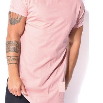 Tyga Pink Tees Hiphop t-shirt Tops tees fashion oversized Short sleeve Kanye west army extended tee jay z spilt t shirt Extra