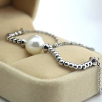 Ladies Cute Sexy Shiny Gift Jewelry Stylish New Arrival Titanium Necklace Pearls Metallic Simple Design Silver Anklet [8169870727]