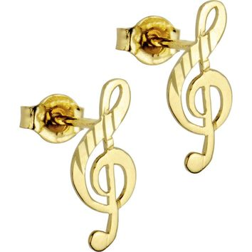 14kt Yellow Gold Music Note Stud Earrings