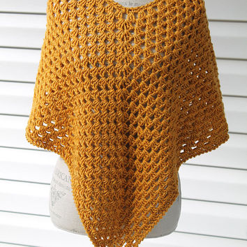 Women's Mustard Poncho - Mustard Yellow Shawl - Mustard Wrap - Yellow Sweater - Teen's Poncho - Small Size - Yellow Poncho - Winter Fashion