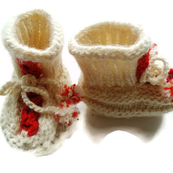Hand knit baby booties, natural wool, casual booties, booties with ties, wool baby bootie, unique booties, for 9 - 12 month baby, epsteam