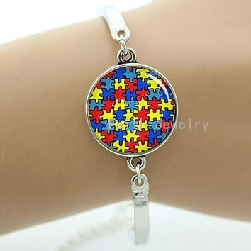 Autism Awareness Jewelry Autism Heart Bracelet Glass Cabochon Dome Colorful Pattern Metal Women Jewelry