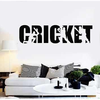 Vinyl Wall Decal Cricket Player Lettering Sports Art Decor Stickers Mural Unique Gift (ig4976)