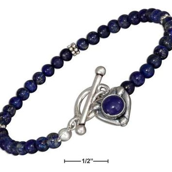 "Sterling Silver Bracelet:  7"" Beaded Lapis With Lapis Heart Toggle Bracelet"