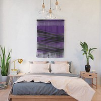 Black Diagonal Crossing On Purple Wall Hanging by gx9designs