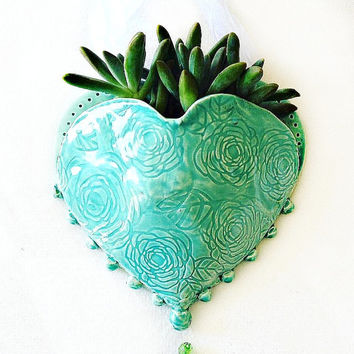 Hanging Planter - Ceramic Wall Pocket - Heart Planter - Heart Wall Pocket - Ceramic Planter - Planter for Air Plant Succulent - Plant Vase