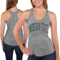 Michigan State Spartans Womens Breaking Hearts Tri-Blend Racerback Tank Top – Gray