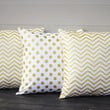 """White and Gold Pillow Covers. Set of Three,  18"""" x 18"""". Chevron Sofa Pillow Covers. White Gold Polka Dot Toss Pillows. Throw Pillows."""