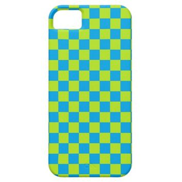 Checkered Lime Green and Turquoise iPhone 5 Cases