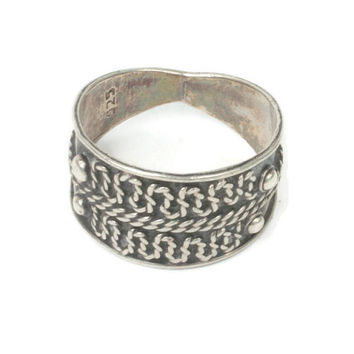Modernist Cigar Band Boho Ring Applied Design Sterling Silver Size 7 1/4