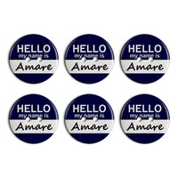 Amare Hello My Name Is Plastic Resin Button Set of 6