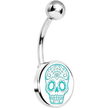 White Turquoise Sugar Skull Belly Ring